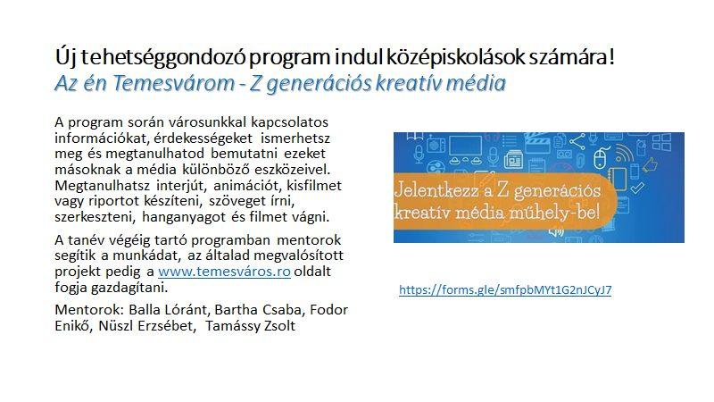 Az én Temesvárom címmel Z generációs kreatív médiaműhely indul középiskolások számára